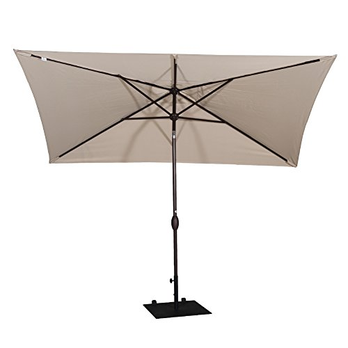 Abba Patio 6.6 by 9.8 Ft Market Outdoor Table Umbrella with Push Button Tilt and Crank, Beige