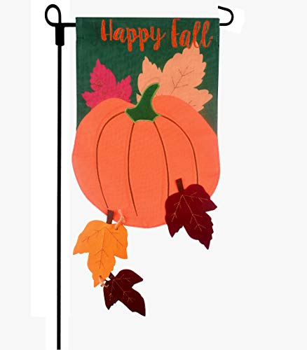 Fun-Here Harvest Garden Flag Double Sides Burlap Yard Sign Happy Festival Pumpkin Outdoor Decoration Banner with Falling Leaves Outside Autumn 12 x18 Inch