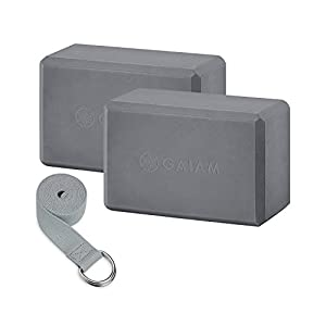 Well-Being-Matters 41tENu6NKML._SS300_ Gaiam Essentials Yoga Block 2 Pack & Yoga Strap Set, Grey