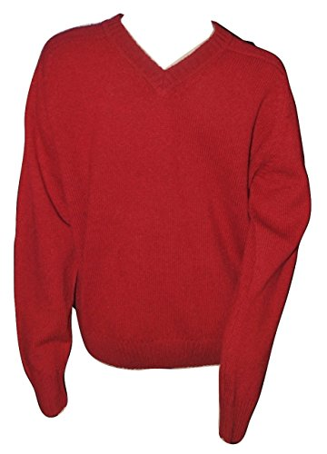 Victoria Men's Shetland Wool Crew Neck Sweater Classic Red Medium