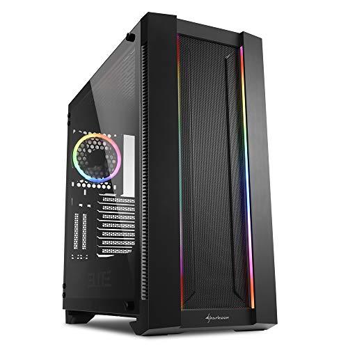Sharkoon ELITE SHARK CA200M - Caja de Ordenador, PC Gaming, Semitorre ATX, Negro