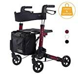 ELENKER LightWeight Rollator Walker, Foldable Compact Stable Rolling Walker with Seat, Detachable Storage Bag, Red (fits 4'9'-5'10')