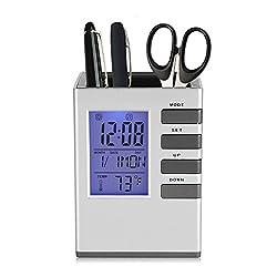 Fdit Multifunctional LED Desk Clock, Digital LCD Screen Alarm Clock Pen Holder Temperature Display for Home Office