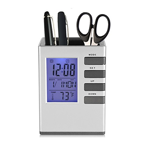 Fdit Multifunctional LED Desk Clock, Digital LCD Screen Alarm Clock Pen Holder Temperature Display for Home Office ()