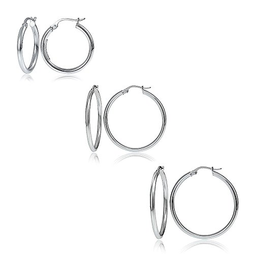 Hoops & Loops Set of 3 Sterling Silver 2mm Polished Round Hoop Earrings, 20mm, 25mm 30mm (Silver Hoop Earring Set)