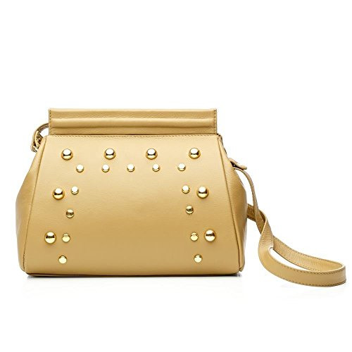 [Brown Yellow Leather Shoulder Handbag MURA GURA Heidi] (Croc Yellow Leather)