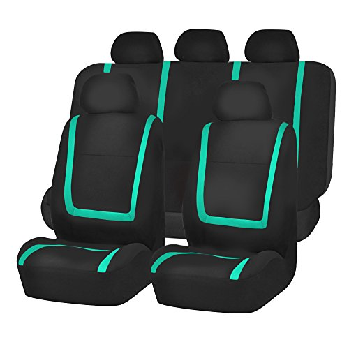 Green Sedan - FH Group FH-FB032115 Unique Flat Cloth Seat Covers, Mint/Black Color- Fit Most Car, Truck, Suv, or Van