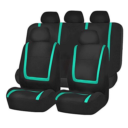 FH Group FH-FB032115 Unique Flat Cloth Seat Covers, Mint/Black Color- Fit Most Car, Truck, Suv, or Van