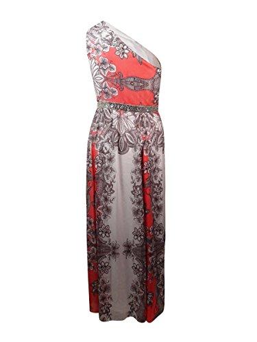 Nine West Womens Beaded One Shoulder Chiffon Dress