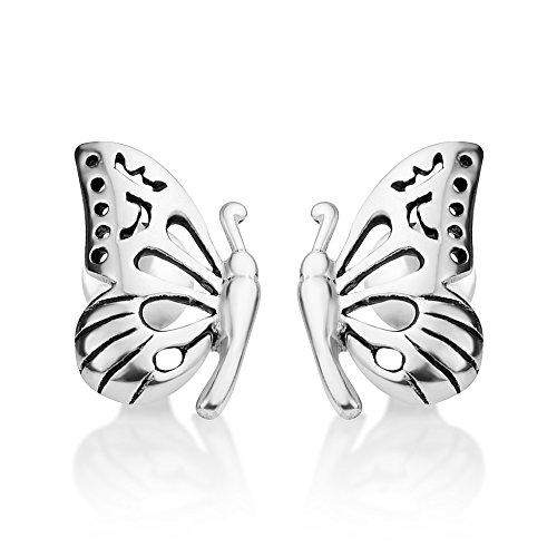 925 Oxidized Sterling Silver Open Filigree Half Butterfly Wing Post Stud Earrings 7x10 mm (Oxidized Earrings Butterfly)
