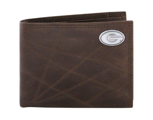 Georgia Leather Bulldogs - NCAA Georgia Bulldogs Brown Wrinkle Leather Bifold Concho Wallet, One Size