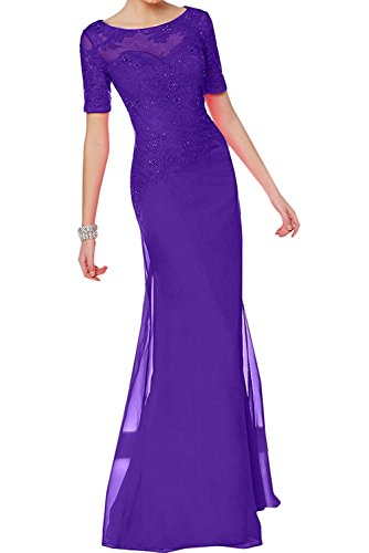 Partykleider Brautmutterkleider mia Abendkleider Spitze Damen Schnitt Schmaler La Rot Langes Festlichkleider Braut Violett 1xgq80