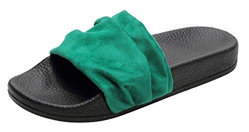 FEET FEEL Womens Slippers Comfort Selected Summer Breathable Sandals, Beach Footwear Green