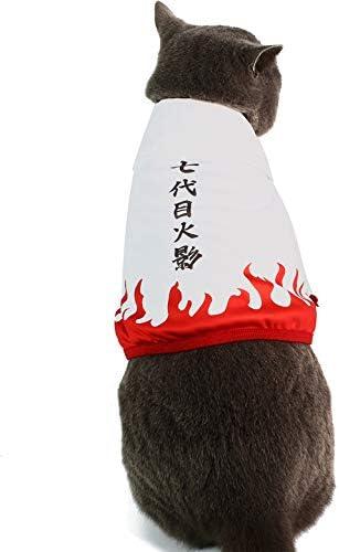 Disfraz divertido para mascotas ropa de gato capa de anime ninja con capucha cosplay para perros pequeños y gatos 4