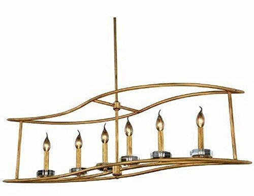 Elegant Lighting 1493G44GI Bjorn Collection Pendant Lamp L44'' W10'' H65'' 6-Light, Clear
