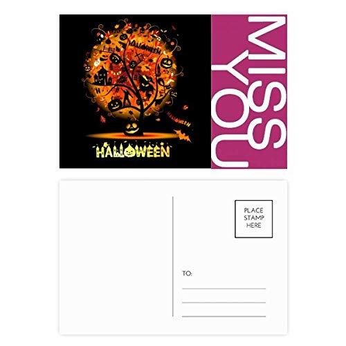 Halloween Cartoon Tree Pattern Miss Postcard Set Thanks Card Mailing Side 20pcs -