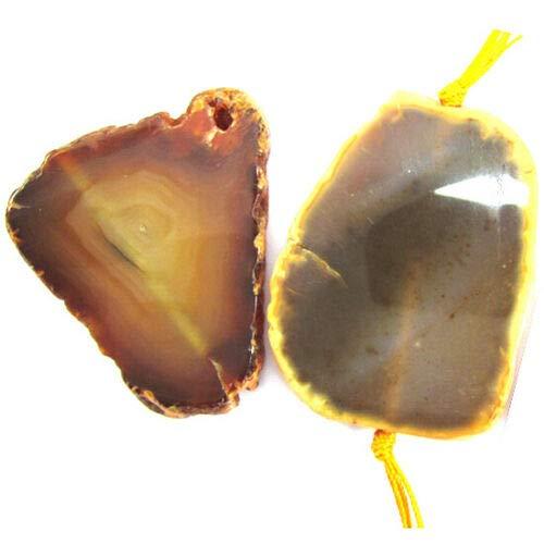 buyallstore 46-62mm Brown Agate Freeform Pendant Bead 1pc