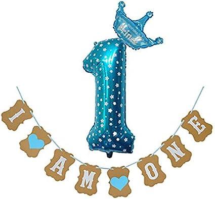 Wicemoon 1 A/ño Cumplea/ños Bebe Globos Decoracion Cumplea/ños Bebe Ni/ño y Ni/ña Azul