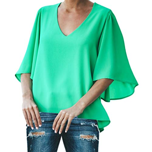 LISTHA Casual Chiffon Blouse for Women 3/4 Peplum Sleeve Tops Solid V Neck Shirt