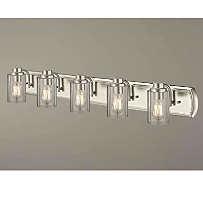 Industrial Seeded Glass Bathroom Light Satin Nickel 5 Lt