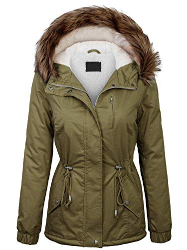 Made By Johnny MBJ Women's Mid-Length Anorak Parka with Faux Fur Hood M Olive ()