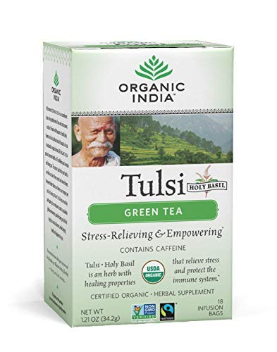 ORGANIC INDIA Tulsi Green Tea, Stress-Relieving, 18 Tea Bags (6 Pack)