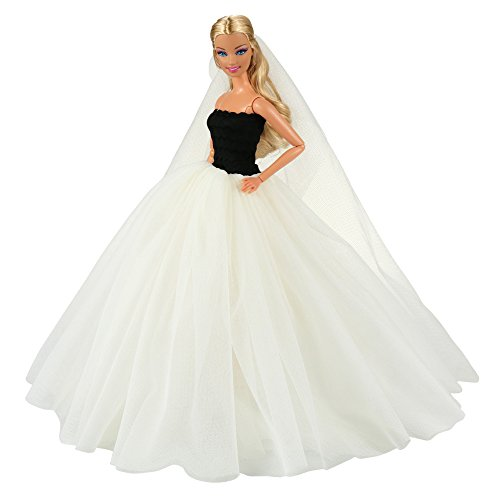 Barwa Beige Wedding Dress with Veil Evening Party Princess Beige Gown Dress for Barbie Doll (Veil Gown)