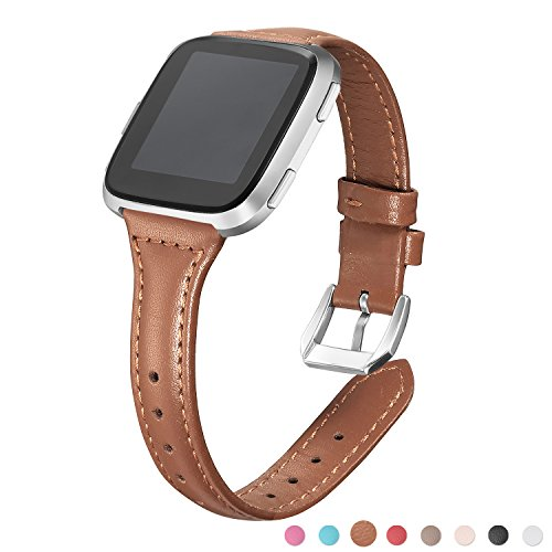 bayite Bands Compatible Fitbit Versa, Brown, (5.3-7.8) Slim Genuine Leather Band Replacement Accessories Strap Women Men,
