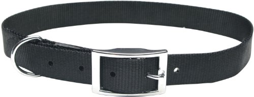 Dogit Nylon Single Ply Dog Collar with Buckle, Large, 24-Inch, Black (Single Ply Dog Collar)
