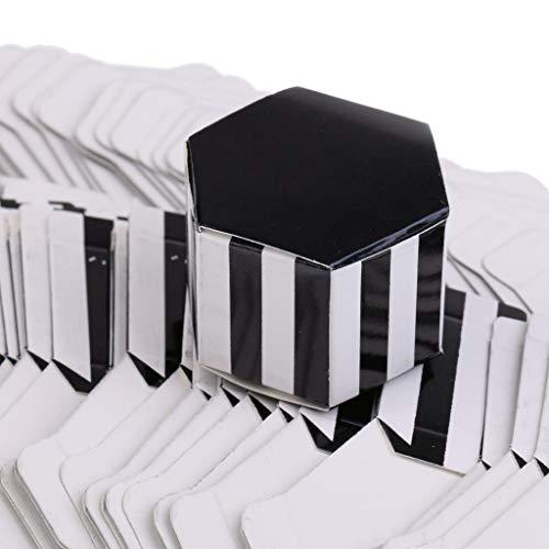 50pcs Wedding Favor Box Cute Paper Hexagon Party Favor Gift Chocolate Candy Case |Design - Stripe|