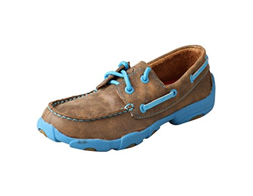 Twisted X Boys' and Neon Blue Driving Mocs Bomber 4.5 D(M) US (Driving Kids)
