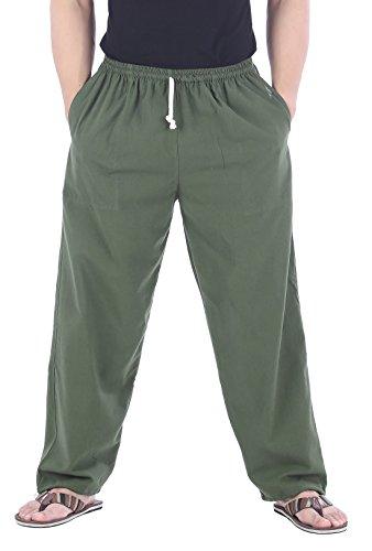 CandyHusky Men Casual Lounge Jogging Workout Yoga Pants Elastic Waist Drawstring (Medium/Large, Green)