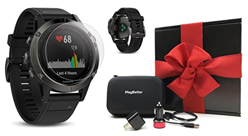 Garmin fenix 5 (Slate Gray with Black Band) GIFT BOX Bundle | Includes Glass Screen Protector, PlayBetter USB Car/Wall Adapter & Hard Carrying Case | Multi-Sport GPS Watch with Wrist-Heart Rate by PlayBetter