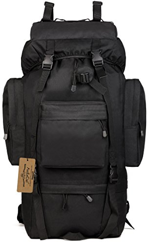 Tactical Giant Hiking Camping Backpack with Rain Cover (Black) ()