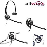 Allworx Compatible Plantronics EncorePro 540 HW540 Headsets Bundle for Allworx IP 9112, 9204, 9212, 9222, 9224