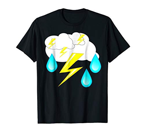 Lightning Bolts Rain Drops Thunder Storm Cloud Costume Shirt ()