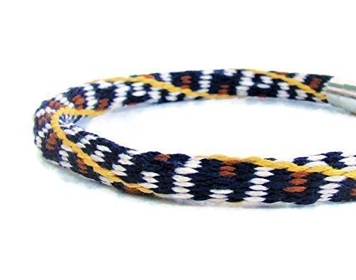 Woven 36 strand, unisex, navy and cream kumihimo friendship bracelet with stainless steel magnetic clasp