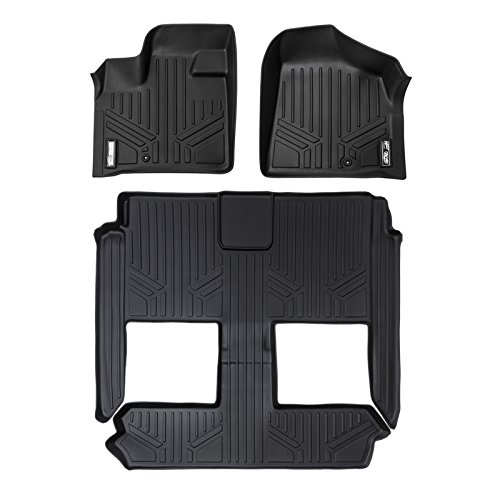 SMARTLINER Floor Mats 3 Row Liner Set Black for 2008-2018 Dodge Grand Caravan / Chrysler Town & Country (Stow'n Go Only) (Car Mats That Cover The Whole Floor)