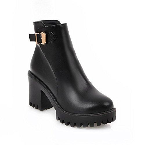 Heel Round Zipper High Solid Urethane Boots Womens ABL09694 Black Platform BalaMasa Toe nE4YxqRww