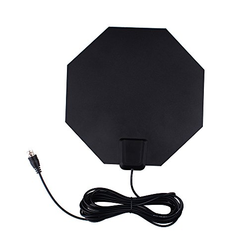 (HDTV Antenna, Aholic Amplified Indoor High Definition Antenna 50 Miles Range with Attached 16.5ft High Performance Coax Cable, External Amplifier and Power Adapter)