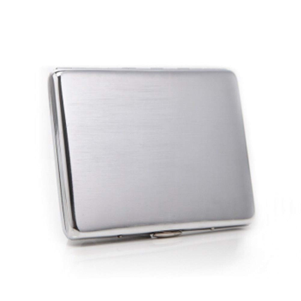 WENPINHUI Cigarette Case, 9-10 Sticks, Thin and Creative Personalized Cigarette Case, Chrome-Plated Brushed Cigarette Case, Best Gift (Color : Silver) by WENPINHUI