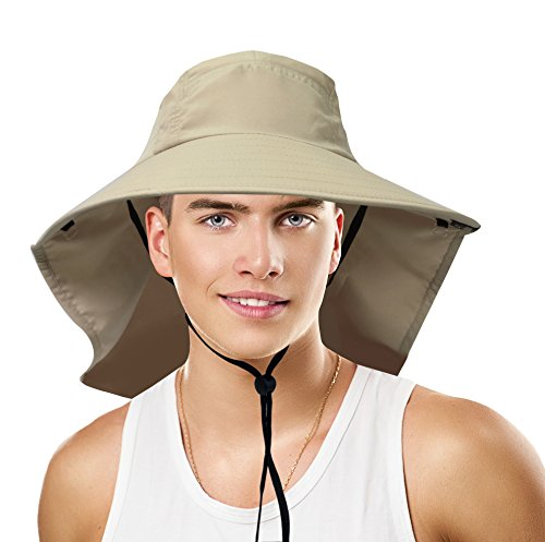 Sun Blocker Unisex Outdoor Sun Protection Fishing Cap Boonie Hat with Neck Flap Wide Brim for Safari Camping Hiking Hunting Boating and Outdoor Adventures, Tan