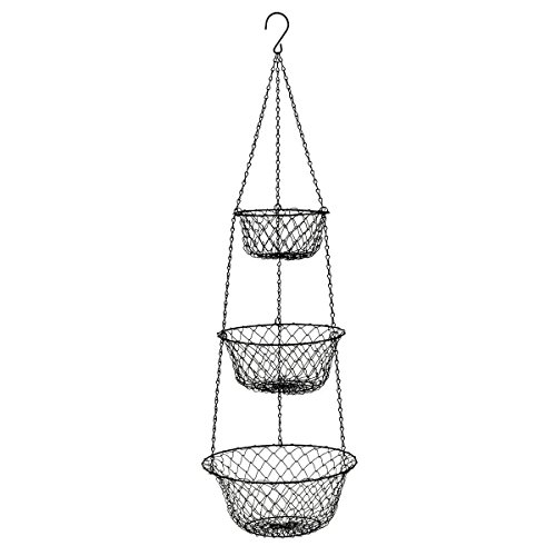Spanish Hanging Basket - MALMO 3 Tier Wire Hanging Basket (black)