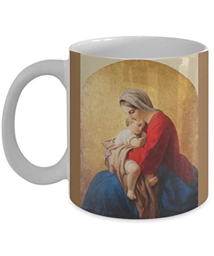 Holy Mary Mother Of God - Gift for Catholic Sacred Art! Beautiful Blessed Virgin Mary with Child Jesus on one side &Holy Mary Mother of God Pray. on the other side 11 or 15 oz Mug Great for Mothers Day Confirmation