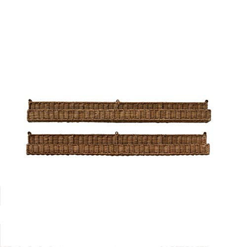 Creative Co-op Handwoven Rattan Wall Well Shelf, 36 Inch x 4 Inch, Brown (Shelf Rattan Wall)