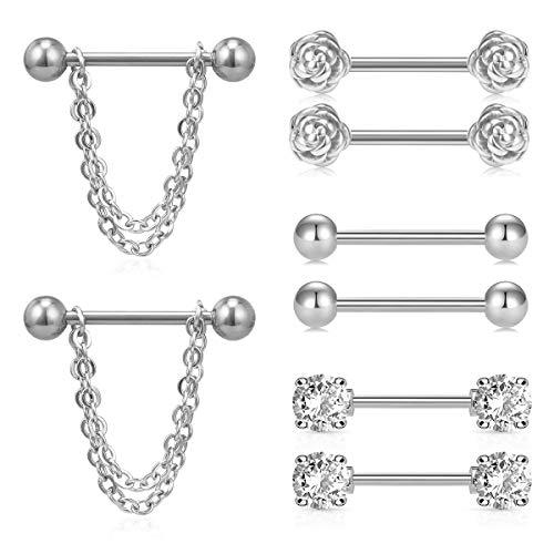 MODRSA Tongue Nipple Rings 14G Chain Dangle Nipplerings CZ Surgical Steel Piercing Barbell Kit for Women Men Ball 5/8