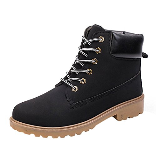 [Fheaven Men Ankle Boots Fur Lined Winter Autumn Warm Martin Boots Shoes (US:7.5, Black2)] (Mens Boots For Sale)