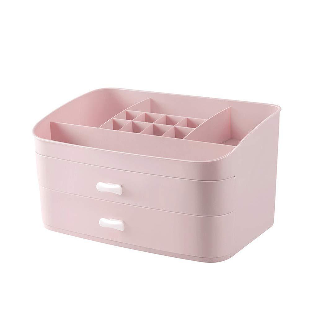 Creative Plastic Makeup Cosmetic Storage Box Drawer Style Desktop Organizer Holder Jewelry Box Sundries Organizers (Pink)