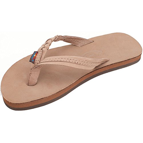 Rainbow Girls Sandals (Rainbow Kids Flirty Braidy Single Layer Premier Leather with a Braided Strap Sandal, Dark Brown, 5-6)