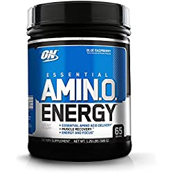 Optimum Nutrition Amino Energy with Green Tea and Green Coffee Extract, Flavor: Blue Raspberry, 65 Servings